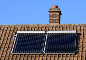 Example of a roof mounted solar water panel heating system using a liquid filled flat plate. It is which is one of the 'primary measures' qualifying for the government's Green Homes Grant of up to £5,000 (£10,000 for those on certain benefits). Ring us on 01329 285 993 for a quote for our expert fitters to install for you.